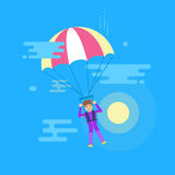Isolated modern vector illustration of young man flying with a parachute. Screaming man jumping with a parachute. Sun and clouds Royalty Free Stock Photo