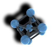 Isolated molecule with shadow Royalty Free Stock Image
