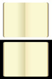 Isolated moleskine note books. Opened blank moleskin note books -soft pages texture - isolated on black and white backgrounds vector illustration