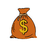 Isolated money bag. Icon  illustration graphic design Royalty Free Stock Photos