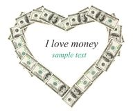 Isolated money frame as heart Stock Photography