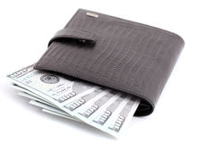 Isolated money in new black leather wallet Royalty Free Stock Photo