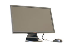 Isolated Monitor and mouse. On white background stock photo