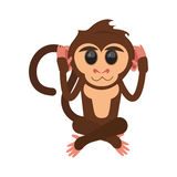 Isolated monkey cartoon design. Monkey cartoon icon. Animal wildlife ape and primate theme. Isolated design. Vector illustration Stock Photos