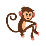 Isolated monkey cartoon design. Monkey cartoon icon. Animal wildlife ape and primate theme. Isolated design. Vector illustration Royalty Free Stock Image