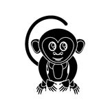 Isolated monkey cartoon design. Monkey cartoon silhouette icon. Animal wildlife ape and primate theme. Isolated design. Vector illustration Stock Images