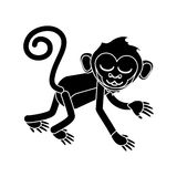 Isolated monkey cartoon design. Monkey cartoon silhouette icon. Animal wildlife ape and primate theme. Isolated design. Vector illustration Stock Photos