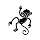 Isolated monkey cartoon design. Monkey cartoon silhouette icon. Animal wildlife ape and primate theme. Isolated design. Vector illustration Stock Image