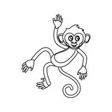 Isolated monkey cartoon design. Monkey cartoon silhouette icon. Animal wildlife ape and primate theme. Isolated design. Vector illustration Royalty Free Stock Photography