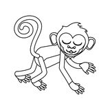 Isolated monkey cartoon design. Monkey cartoon silhouette icon. Animal wildlife ape and primate theme. Isolated design. Vector illustration Stock Photo