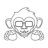 Isolated monkey cartoon with glasses design Stock Images