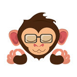 Isolated monkey cartoon with glasses design. Monkey cartoon with glasses icon. Animal wildlife ape and primate theme. Isolated design. Vector illustration Royalty Free Stock Photography