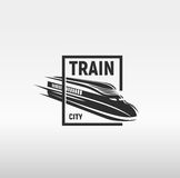 Isolated monochrome modern gravure style train in frame logo on white background vector illustration.  stock illustration