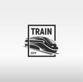 Isolated monochrome modern gravure style train in frame logo on white background vector illustration.  vector illustration