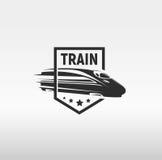 Isolated monochrome modern gravure style train in frame logo on white background vector illustration.  royalty free illustration