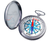 Isolated moral compass. Illustration of a moral compass helping you to make the right decision Stock Photo
