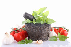 Isolated mortar and ingredient Stock Photo