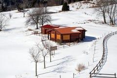 Isolated mountain hut Stock Photography