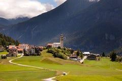 Isolated mountain village in Switzerland Stock Photo