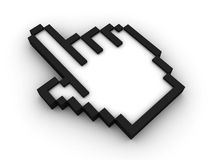 Isolated mouse cursor. Cursor hand on white background with soft shadow. 3D render Stock Photo