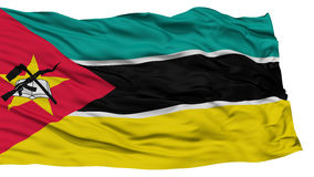 Isolated Mozambique Flag. Waving on White Background, High Resolution Royalty Free Stock Photo