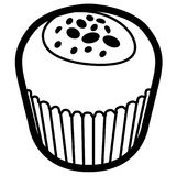 Isolated muffin outline. Isolated outline of a muffin, Vector illustration Royalty Free Stock Photography