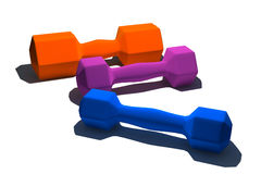 Isolated multicolor dumbbells Royalty Free Stock Photo