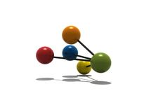 Isolated multicolor molecule Royalty Free Stock Photos