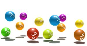 Isolated multicolor spheres with percent symbol. 3d render Stock Photos