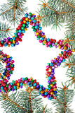 Isolated multicolored christmas star background with copy space Royalty Free Stock Photography