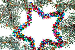Isolated multicolored christmas star background with copy space Royalty Free Stock Images