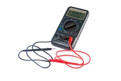 Isolated multimeter. With black and red wired Royalty Free Stock Images