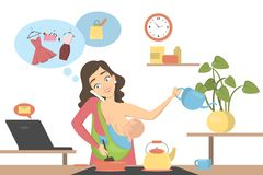 Isolated multitasking mother. vector illustration
