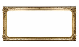 Isolated museum picture frame. An elegant gold picture frame isolated on a white background Royalty Free Stock Photos