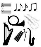 "Isolated Musical Instruments. Isolated music elements in black and white. The ""Isolated Musical Instruments"" vector is in AI-EPS8 format royalty free illustration"