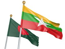 Isolated Myanmar and Bangladesh flags flying together for diplomatic talks and trade relations, 3D rendering. National flags from Myanmar and Bangladesh flying Stock Photo