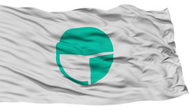 Isolated Nagano Flag, Capital of Japan Prefecture, Waving on White Background Stock Images