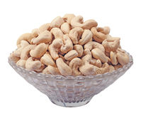 Isolated Natural Cashew Nuts In Bowl Stock Images