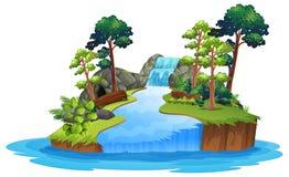 Isolated nature waterfall on white background. Illustration stock illustration