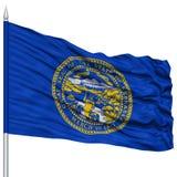 Isolated Nebraska Flag on Flagpole, USA state Stock Photos