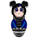 The isolated nested doll the goth drawn by hand Stock Images