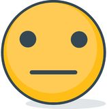 Isolated neutral emoticon. Isolated emoticon. Isolated neutral emoticon. Isolated emoticon  on white background Royalty Free Stock Images