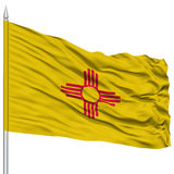 Isolated New Mexico Flag on Flagpole, USA state Stock Photography