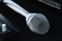 Isolated new silver microphone stock photography
