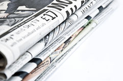 Isolated newspapers. Isolated bunch of newspapers on white background Royalty Free Stock Photography
