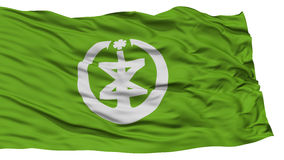 Isolated Niigata Flag, Capital of Japan Prefecture, Waving on White Background Royalty Free Stock Photography