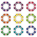 Isolated nine colorful poker chip vector Stock Photo
