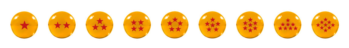 Isolated Nine Orange glass balls or marbles and a red star figur Stock Images
