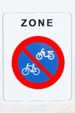 Isolated No Parking for Bicycles and Mopeds Traffic Sign Closeup Stock Photography