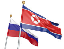 Isolated North Korea and Russia flags flying together for diplomatic talks and trade relations, 3D rendering. National flags from North Korea and Russia flying Royalty Free Stock Photography